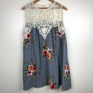 Umgee Lace Top  Floral Lined Swing Dress XL